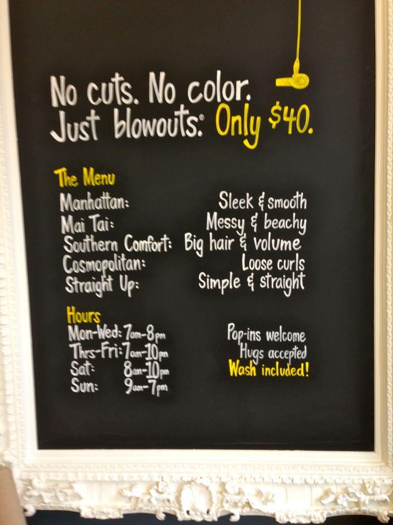 dry bar menu