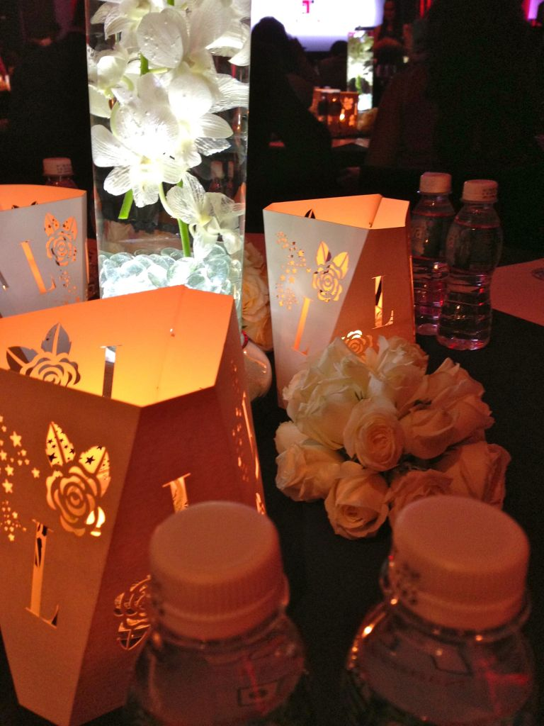 table setting at the awards